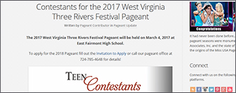 Contestants for the 2017 West Virginia Three Rivers Festival Pageant